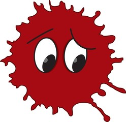 Funny red blot with eyes. Vector
