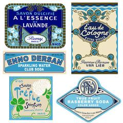 5  vintage labels