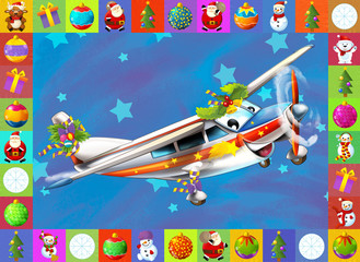 The happy christmas plane with frame