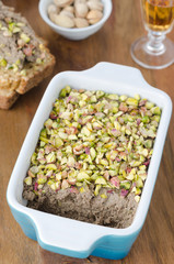 Chicken liver pate with pistachios closeup
