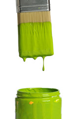 Green Paint Dripping from a brush