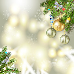 Christmas background with balls and pine tree branch