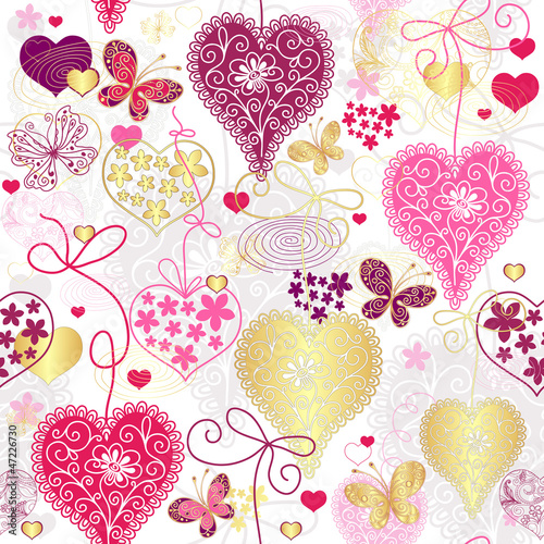 Seamless motley valentine pattern