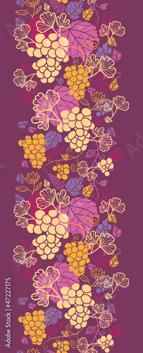 Vector sweet grape vines vertical seamless pattern background