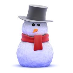 Snowman wears a top hat