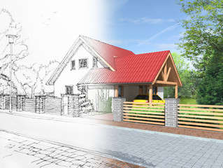 Idea of house construction. Conceptual illustration.