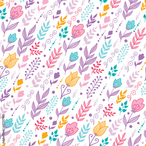 Vector colorful Dutch tulip field flowers elegant seamless