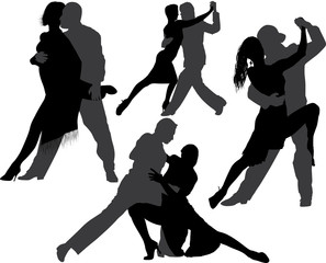 Couple dancing tango vector silhouette set