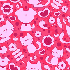 Sweet seamless pattern cute animals and romantic elements