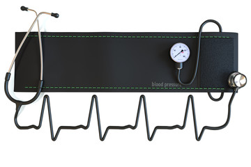 Blood pressure cuff  in the shape of a heart waveform.