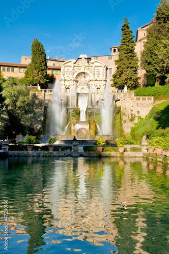 Fotobehang Fontaine Fontane del Nettuno e dell' Organo at Villa D'este - >Roma