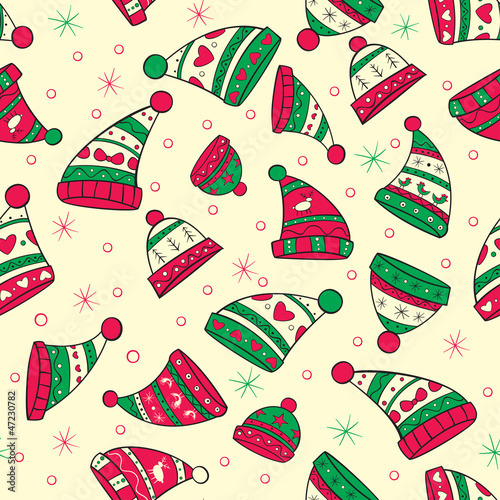 Winter seamless pattern with red-green hats