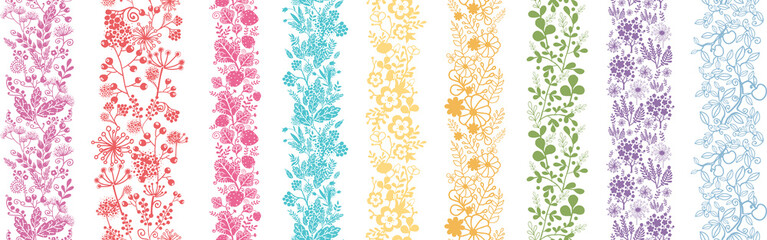 Set Of Nine Abstract plant Vertical Seamless Patterns