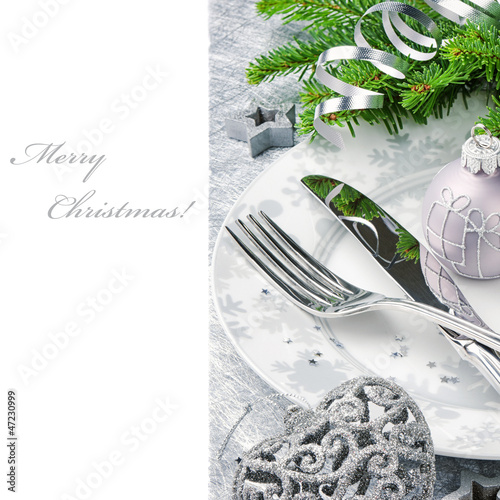 Christmas menu concept in silver tone