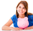 Thoughtful woman with her savings