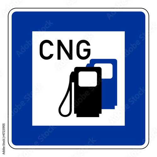 CNG Schild, Erdgas, Tankstelle – CNG filling station