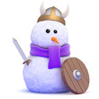 Snowman dresses as a VIking for fun