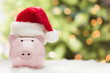 Pink Piggy Bank with Santa Hat on Snowflakes - 47232987