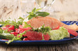 Salmon fillet and fresh salad