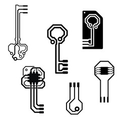Vector circuit board keys for logo or icon