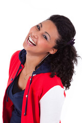 Young African American teenage girl laughing