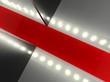 Empty red carpet, fashion runway illuminated