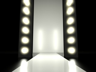 Empty fashion runway illuminated glowing light