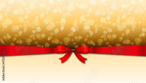 Greeting card with red bow and copy space.