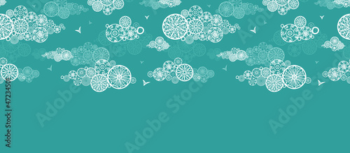 Vector doodle clouds abstract horizontal seamless pattern