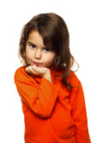 portrait of curly brunette girl child in orange sweater flirt fl