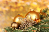 Fototapety Christmas decoration on yellow background