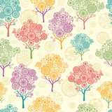 Fototapety Vector colorful abstract trees seamless pattern background with