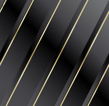 Satin fabric in diagonal at striped black and gold