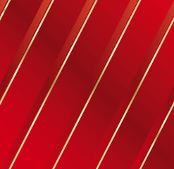 Satin fabric in diagonal at striped red and gold