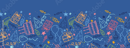 Vector birthday horizontal seamless pattern ornament background - 47236543