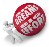Big Dreams and Effort Person Rolling Ball Uphill to Goal poster