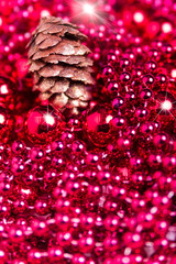 Decoracion navidad bolas rojas piña