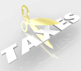 Scissors Cutting Taxes Word Cut Your Tax Costs