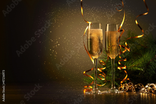 Glasses of champagne at new year party - 47236973