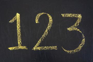 Handwriting numbers 1,2,3 and chalk on blackboard