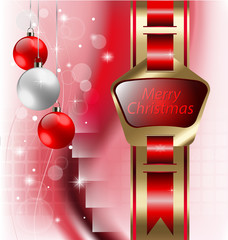 Christmas holiday background with ribbon