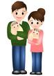 双子の赤ちゃんとパパママ