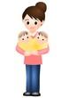 双子の赤ちゃんとママ