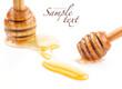 Wooden honey dipper and Honey drops
