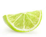 Fresh lime slice, Isolated on white background