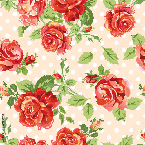 classic roses on a dotty background - seamless