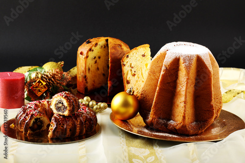 Christmas sweets on decorated table
