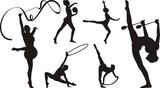 rhythmic gymnastics with apparatus - silhouette poster