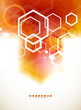 Orange abstract blurred hexagon background