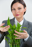Adult pretty businesswoman taking care about her plant. Startup poster